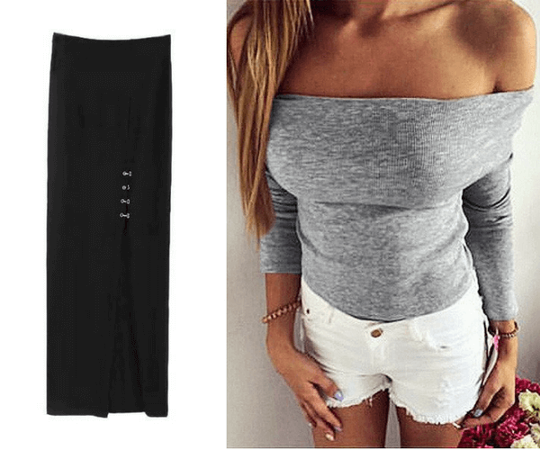Black Side-Slit Long Skirt and Grey Off-Shoulder Ribbed Knit Top | Lookbook Store