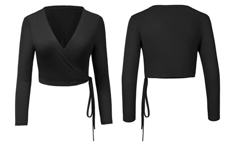 Black Side-Tie Wrap Crop Top | Lookbook Store