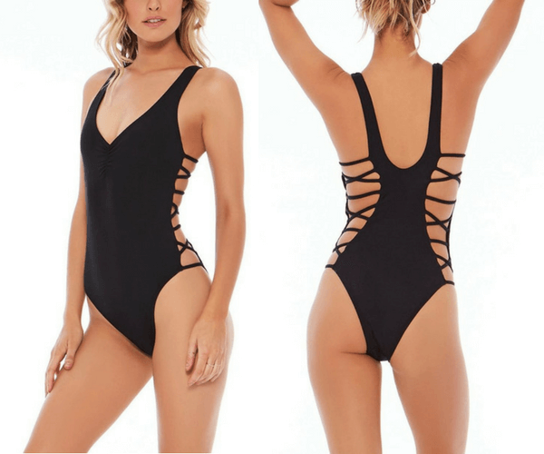 Black Strappy Side One-Piece Swimsuit | Lookbook Store