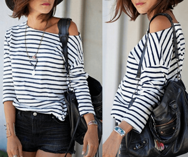 Black and White Striped Long-Sleeves Top | Lookbook Store