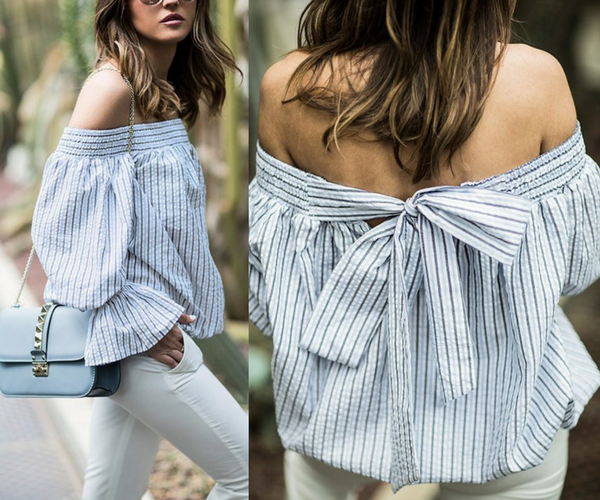 Blue Striped Bow-Back Off-Shoulder Top | Lookbook Store