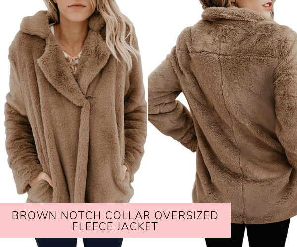 Brown Notch Collar Oversized Fleece Jacket - Lookbook Store