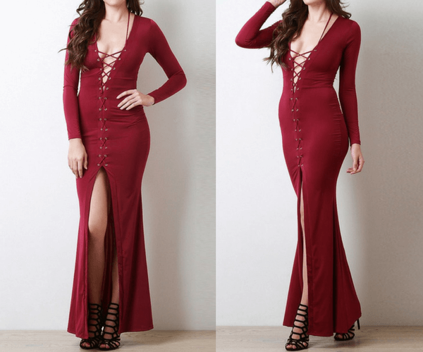 Burgundy Lace-Up Long Dress | Lookbook Store