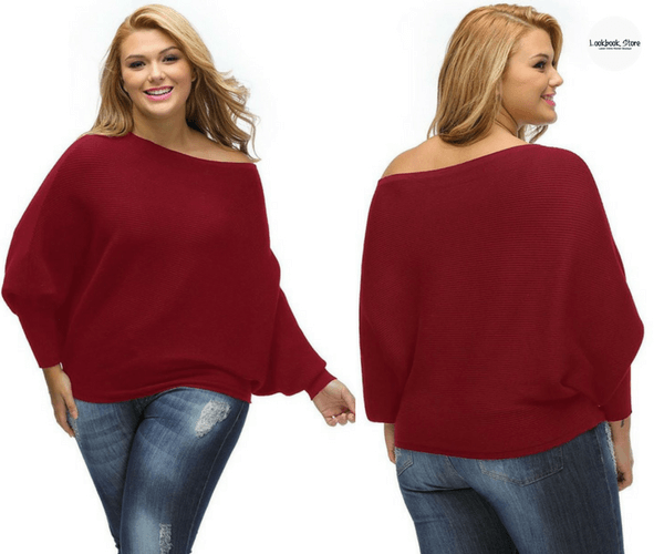 Burgundy Off-Shoulder Bat Sleeves Sweater | Lookbook Store