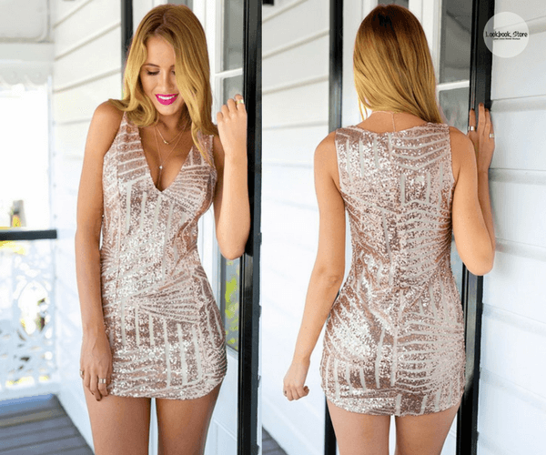 Champagne Sequin Party Dress | Lookbook Store