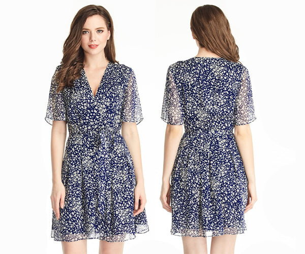 Blue Printed Chiffon Wrap Dress