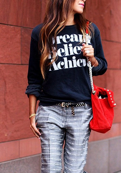 Dark Blue Printed Sweatshirt