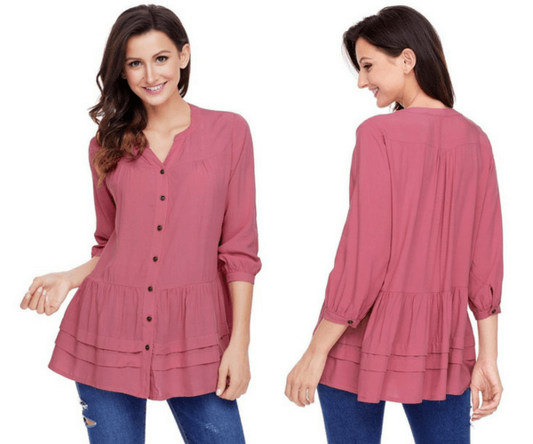 Deep Blush Button-Front Puffed Sleeves Tunic | Lookbook Store