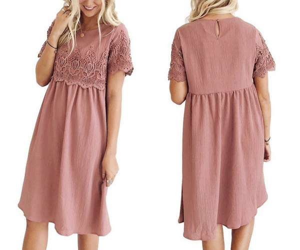 Deep Blush Hollow Out Lace Keyhole-Back Shift Dress | Lookbook Store