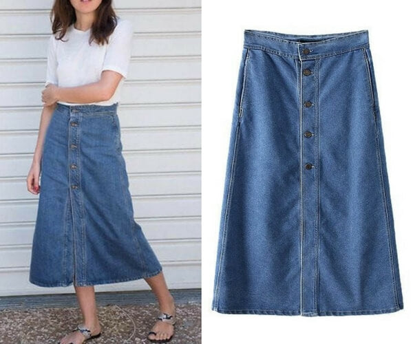 Denim Button-Down Maxi Skirt