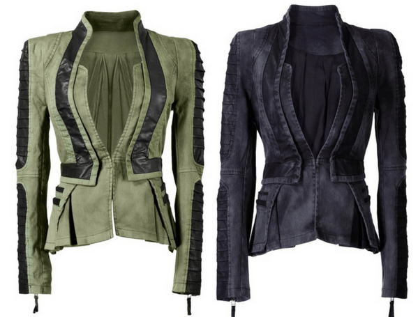 Denim PU Leather Contrast Blazer - Green and Denim PU Leather Contrast Blazer - Grey | Lookbook Store