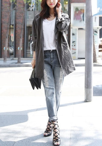Distressed Grey Boyfriend Jeans
