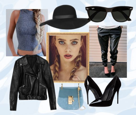 Polyvore set with crop top, leather jacket, and harem pants