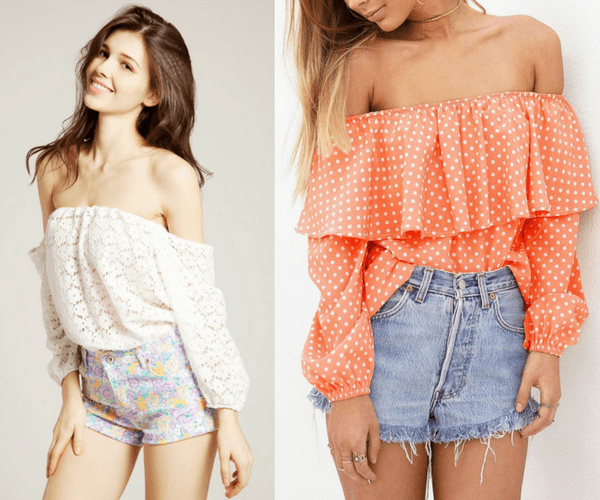 Eyelet Off Shoulder Top and Orange Polka Dots Off-Shoulder Top | Lookbook Store