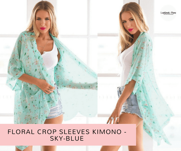 fbed158a528 Floral Crop Sleeves Kimono - Sky-blue