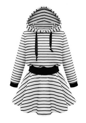 Striped Hooded Skater Dress | Lookbook Store