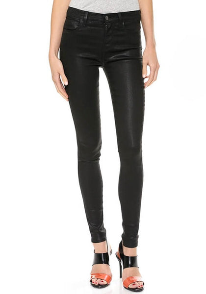 Front view of black PU leather skinny pants