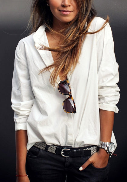 Front view of girl in white cotton high-low shirt