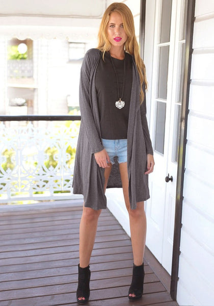 Grey drape collar maxi cardigan