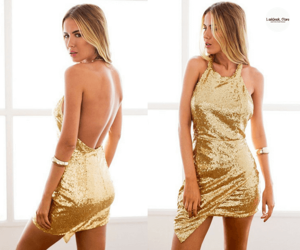 Gold Sequin Halter Mini Dress - Lookbook Store