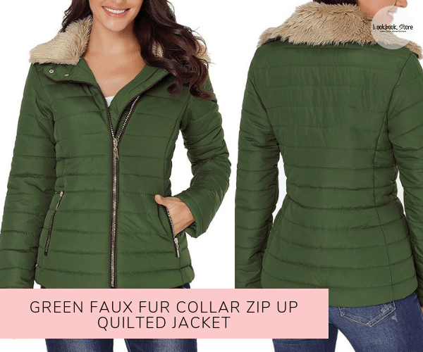 Green Faux Fur Collar Zip Up Quilted Jacket - Lookbook Store
