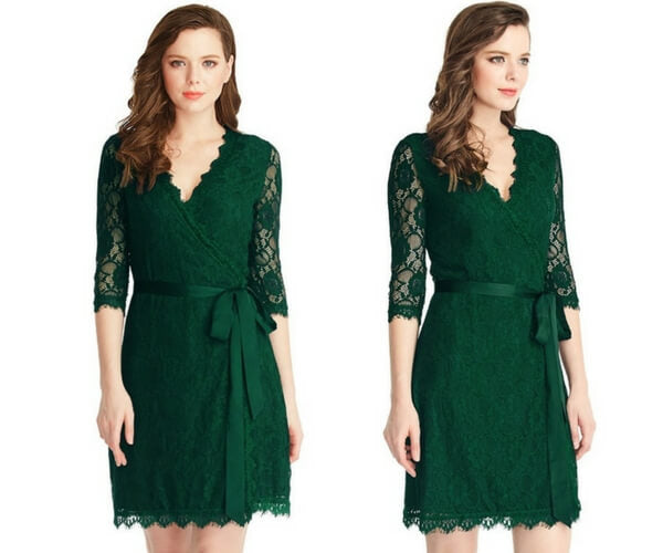 Green Lace Overlay Plunge Wrap-Style Dress