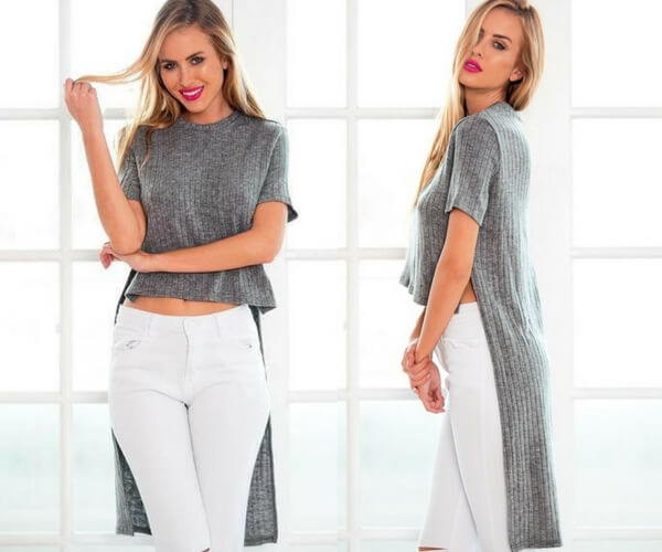 Grey High-Low Knit Top