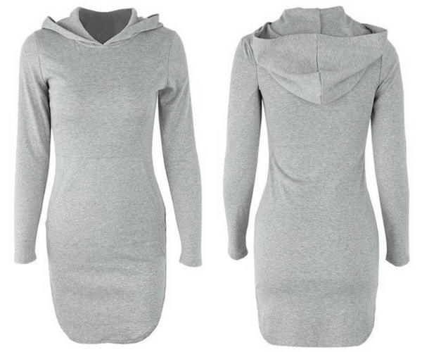 Grey Hooded Curved-Hem Tunic | Lookbook Store