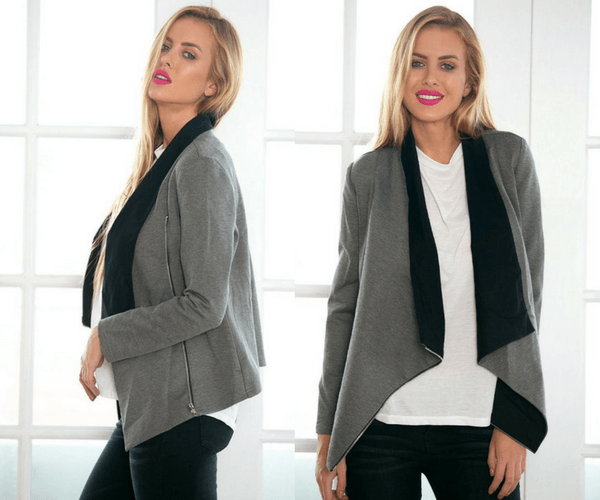 Grey Oblique Zipper Draped Cardigan | Lookbook Store
