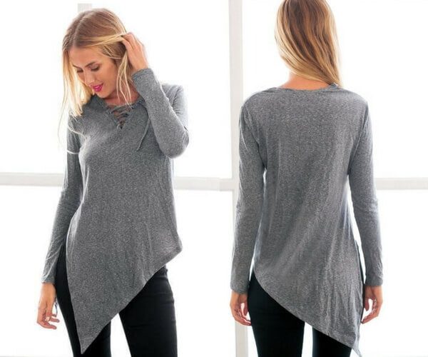 Grey Side-Slit Asymmetrical Tee