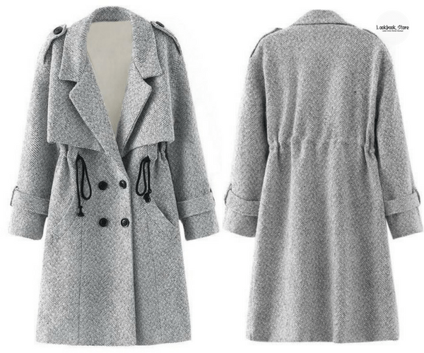 Grey Woven Trench Coat | Lookbook Store