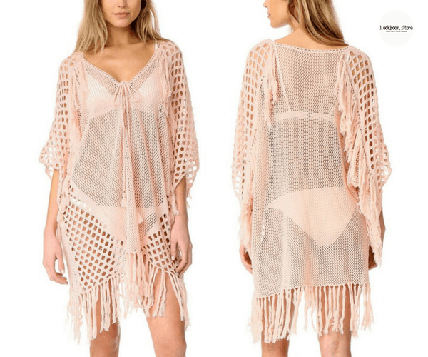 Light Pink Lace-Up Fishnet Kaftan Cover-Up - Lookbook Store