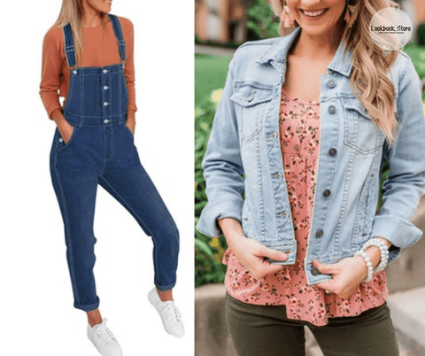 Lookbook Store Dark Blue Button-Down Skinny Denim Bib Overall and Button Down Fitted Denim Jean Jackets
