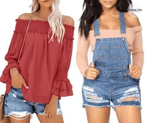 Lookbook Store Dark Coral Pink Off-Shoulder Ruffle Bell Sleeves Blouse and Blue Denim Ripped Shorts Bib Overall