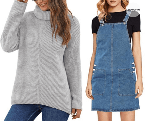 Lookbook Store Grey Turtleneck Velvet Cable Knit Pullover Sweater| Blue Side Pockets Overall Denim Pinafore Dress