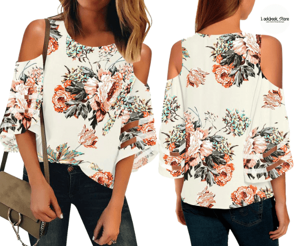 Off-White 3/4 Bell Mesh Panel Sleeves Cold-Shoulder Floral Loose Top | Lookbook Store