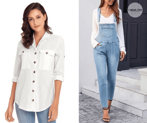 Lookbook Store White Long Cuffed Sleeves Lapel Button-Up Blouse and Light Blue Skinny Denim Bib Overall Jumpsuit
