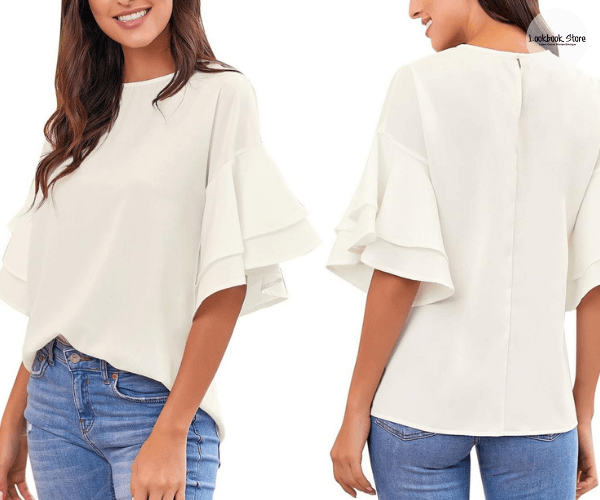 White Trumpet Sleeves Keyhole-Back Blouse | Lookbook Store