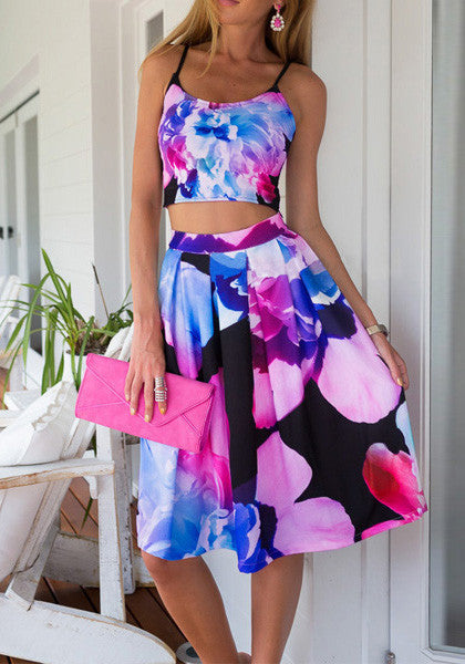 petal prints skirt co-ord set