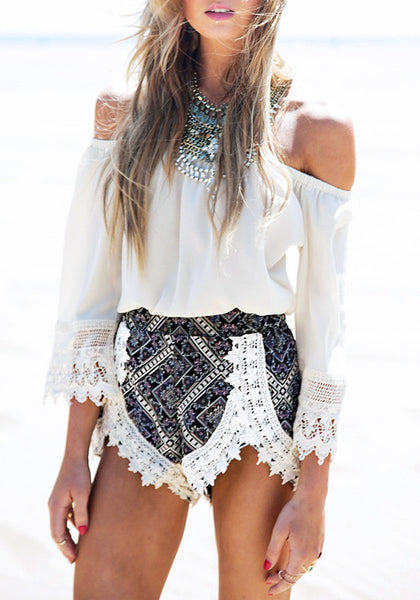 off shoulder two piece shorts set