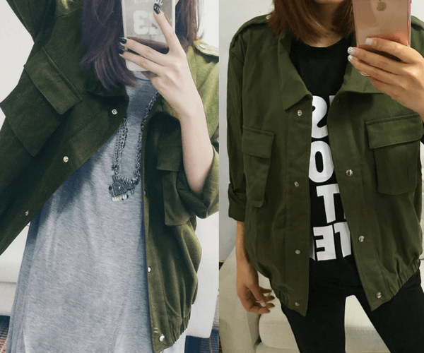 Moss Green Button-Down Military Jacket | Lookbook Store
