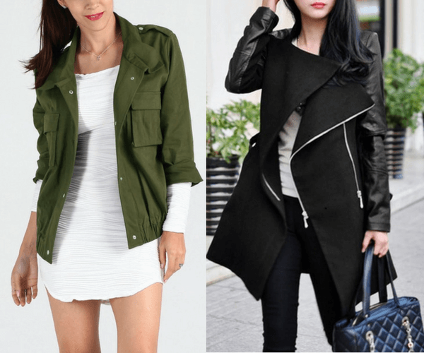 Moss Green Button-Down Military Jacket and Black PU Sleeve Coat | Lookbook Store