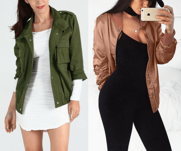 Moss Green Button-Down Military Jacket and Rose Gold Satin Bomber Jacket | Lookbook Store