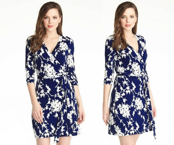 Navy Blue Floral Plunge Wrap Dress