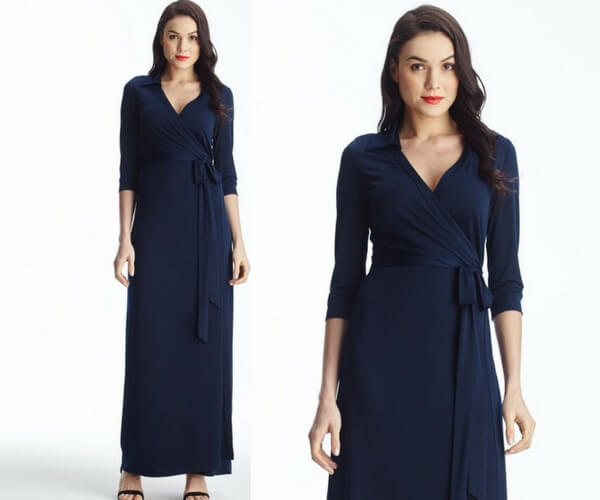 Navy Blue Plunge Wrap Belted Maxi Dress