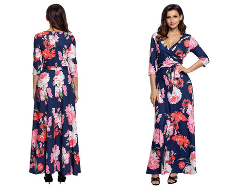 Navy Floral-Print Boho Long Faux Wrap Maxi Dress | Lookbook Store
