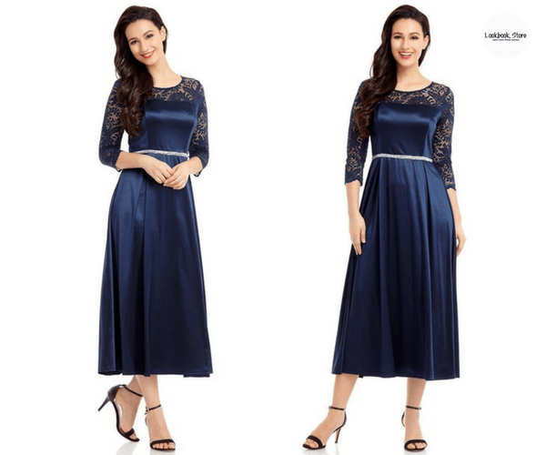 Navy Lace-Sleeve Long Satin Dress | Lookbook Store