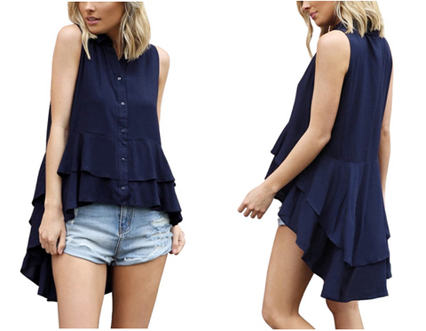 Navy Layered Ruffle-Hem Sleeveless Button-Down Blouse | Lookbook Store