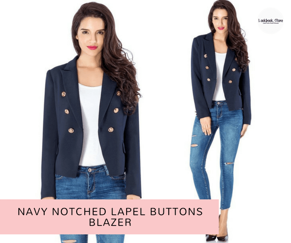 Navy Notched Lapel Buttons Blazer - Lookbook Store