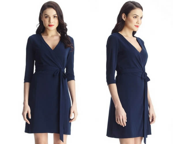 Navy Plunge Wrap-Style Belted Dress